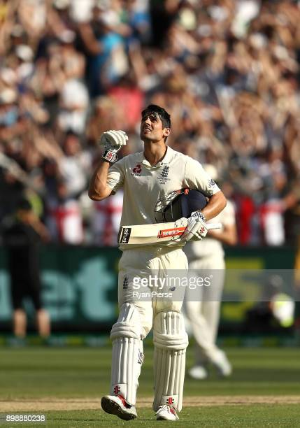 Alastair Cook of England celebrates after reaching his century during day two of the Fourth Test Match in the 2017/18 Ashes series between Australia...
