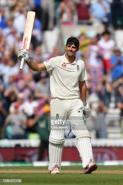 Alastair Cook of England celebrates after reaching his century in his last Test match during the Specsavers 5th Test Day Four between England and...