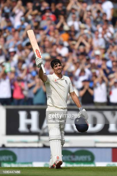 Alastair Cook of England celebrates after reaching his century in his last Test match during the Specsavers 5th Test - Day Four between England and...