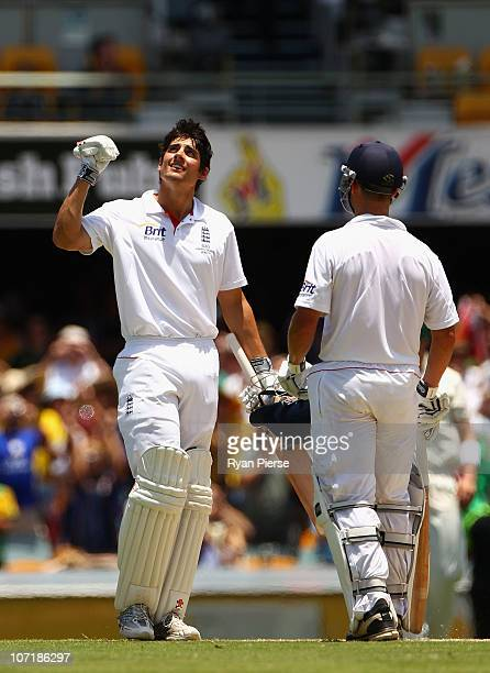 Alastair Cook of England celebrates after reaching his double century during day five of the First Ashes Test match between Australia and England at...