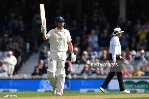 Alastair Cook of England celebrates after reaching his half century during the Specsavers 5th Test Day One between England and India at The Kia Oval...