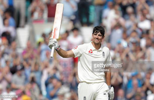 Alastair Cook of England celebrates getting his century in his final test match innings before retirement during the 4th day of the England v India...
