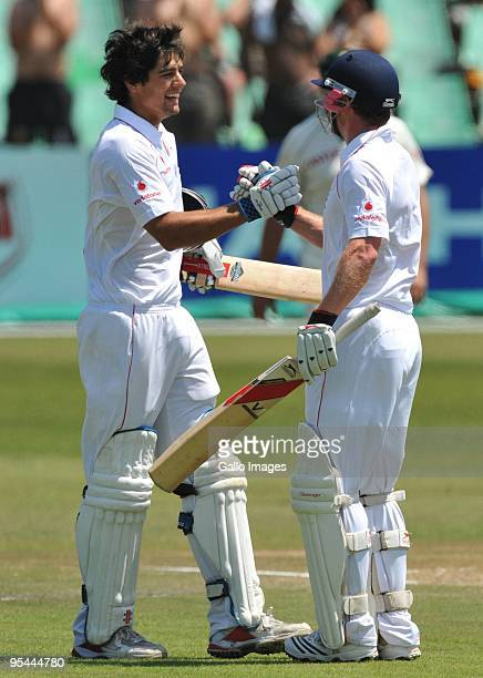 Alastair Cook of England celebrates his 100 with Paul Collingwood during day 3 of the 2nd test match between South Africa and England from Sahara...