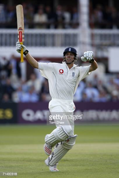 Alastair Cook of England celebrates his century during day one of the first npower test match between England and Pakistan at Lord's on July 13 2006...
