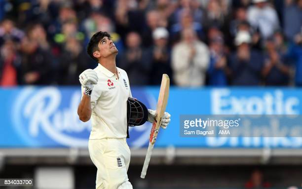 Alastair Cook of England celebrates his century during day one of the 1st Investec Test match between England and West Indies at Edgbaston on August...