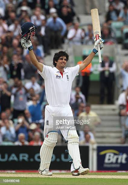 Alastair Cook of England celebrates his century during day three of the npower 3rd Test Match between England and Pakistan at The Brit Insurance Oval...