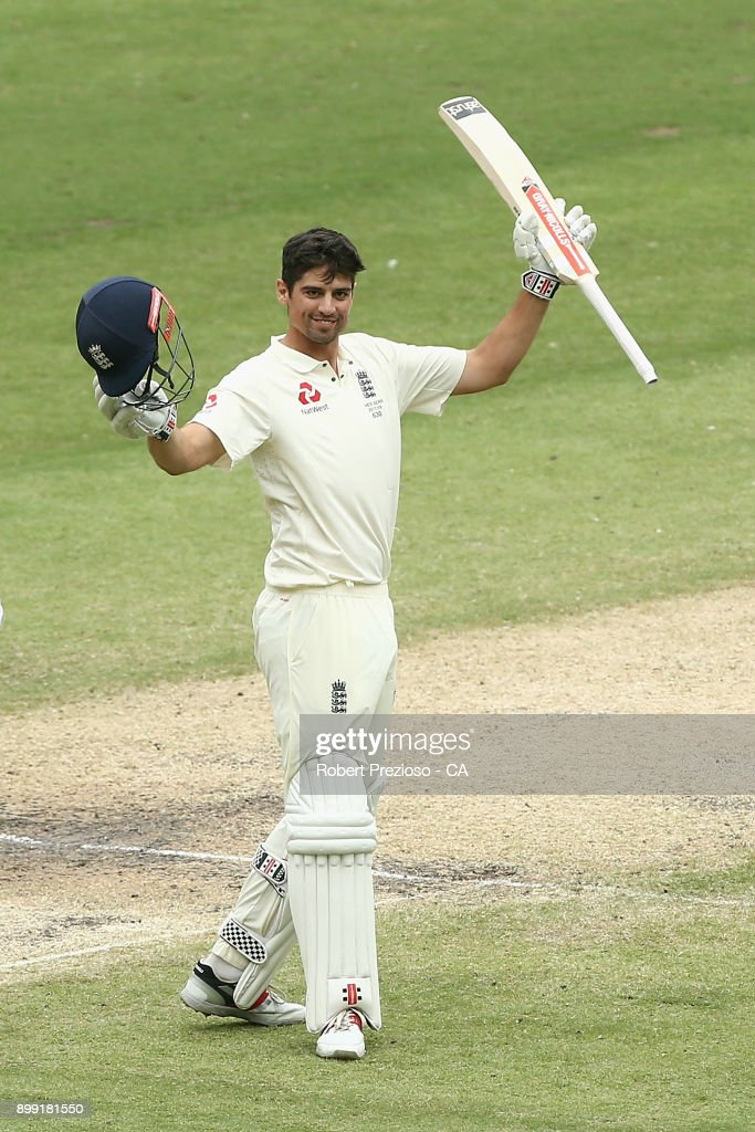 Alastair Cook of England celebrates his double century during day three of the Fourth Test Match in the 2017/18 Ashes series between Australia and England at Melbourne Cricket Ground on December 28, 2017 in Melbourne, Australia.