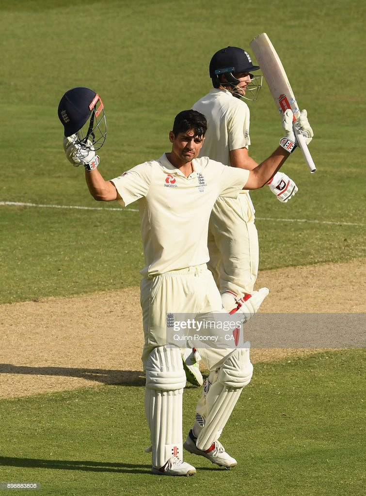 Alastair Cook of England celebrates making a century during day two of the Fourth Test Match in the 2017/18 Ashes series between Australia and England at Melbourne Cricket Ground on December 27, 2017 in Melbourne, Australia.