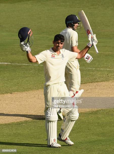Alastair Cook of England celebrates making a century during day two of the Fourth Test Match in the 2017/18 Ashes series between Australia and...