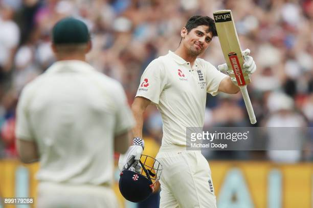 Alastair Cook of England celebrates making his double century during day three of the Fourth Test Match in the 2017/18 Ashes series between Australia...