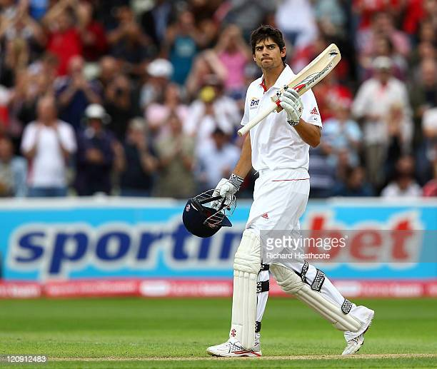 Alastair Cook of England celebrates reaching 250 not out during day three of the 3rd npower Test at Edgbaston on August 12 2011 in Birmingham England