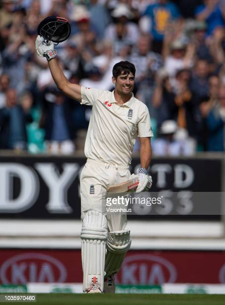 Alastair Cook of England celebrates reaching a century in the final innings of his test match career during the 5th Specsavers Test Match between...