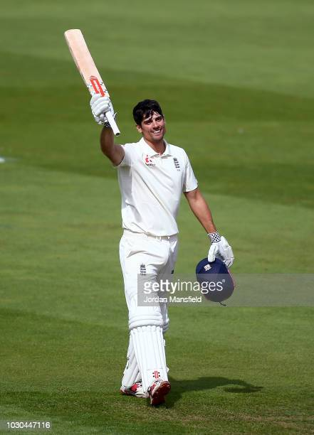 Alastair Cook of England celebrates reaching his century during day four of the Specsavers 5th Test match between England and India at The Kia Oval...