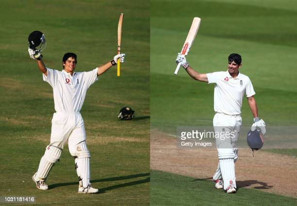 COMPOSITE OF IMAGES Image numbers 569962531030447244 In this composite image a comparison has been made between Alastair Cook of England celebrates...