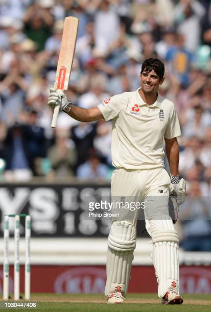 Alastair Cook of England celebrates reaching his century on the fourth day of the fifth Specsavers Test Match between England and India at The Kia...