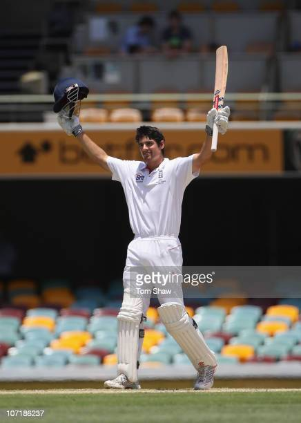Alastair Cook of England celebrates reaching his double century during day five of the First Ashes Test match between Australia and England at The...