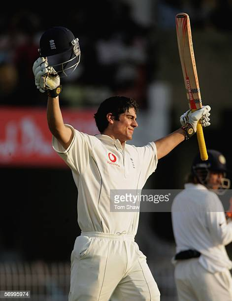 Alastair Cook of England celebrates reaching his maiden test century during day four of the First Test between India and England at the VCA Stadium...