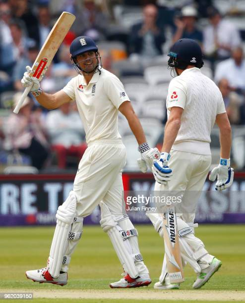 Alastair Cook of England celebrates scoring 50 runs during the NatWest 1st Test match between England and Pakistan at Lord's Cricket Ground on May...