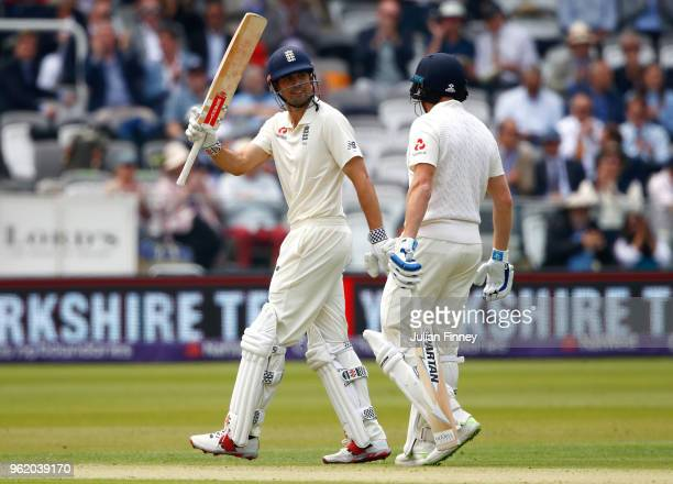 Alastair Cook of England celebrates scoring 50 runs during the NatWest 1st Test match between England and Pakistan at Lord's Cricket Ground on May 24...