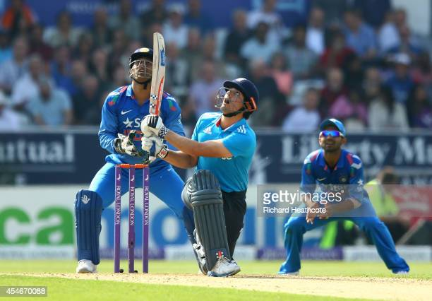 Alastair Cook of England chips the ball up to get caught out during the Royal London OneDay match between England and India at Headingley on...
