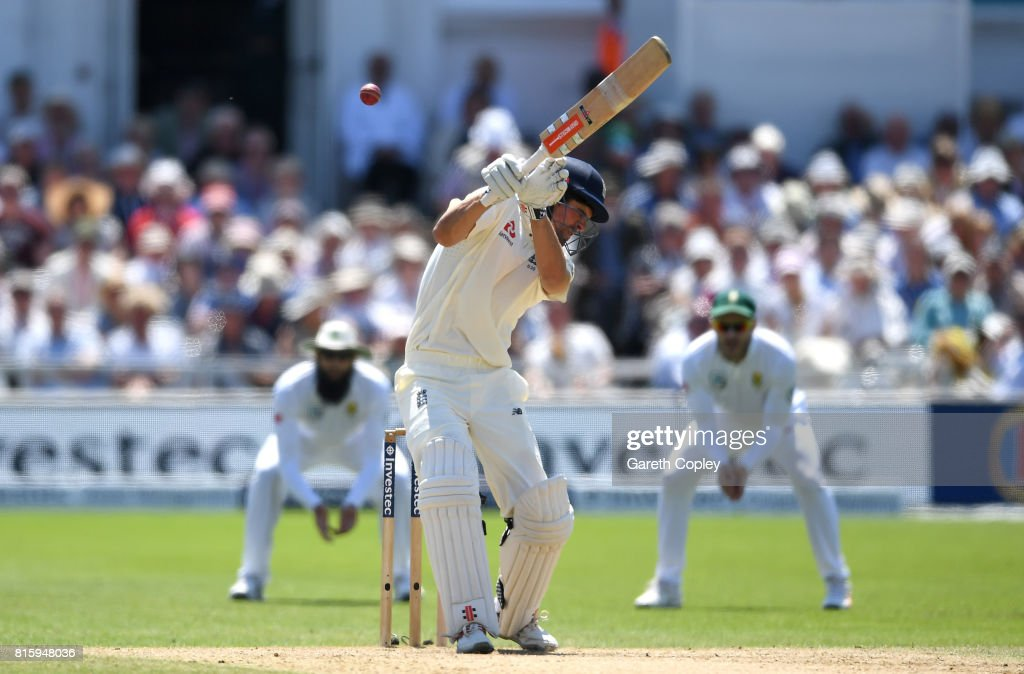 Alastair Cook of England fends at a bouncer from Chris Morris of South Afrrica which is caught out by Quinton de Kock during day four of the 2nd Investec Test match between England and South Africa at Trent Bridge on July 17, 2017 in Nottingham, England.