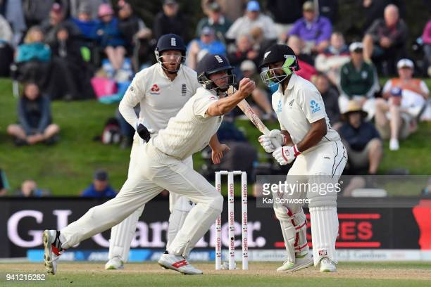 Alastair Cook of England fields the ball during day five of the Second Test match between New Zealand and England at Hagley Oval on April 3 2018 in...