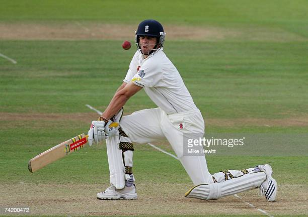 Alastair Cook of England gets a reverse sweep wrong during the fourth day of the first npower test match between England and the West Indies at...