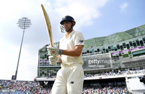Alastair Cook of England heads to bat during the 2nd NatWest Test match between England and Pakistan at Headingley on June 1 2018 in Leeds England