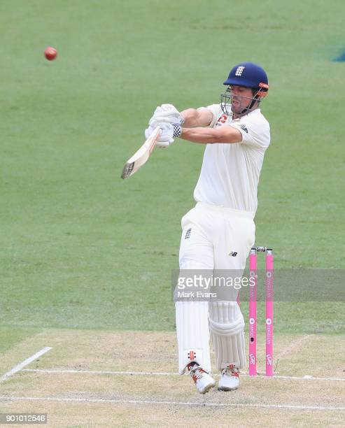 Alastair Cook of England hits a boundry during day one of the Fifth Test match in the 2017/18 Ashes Series between Australia and England at Sydney...