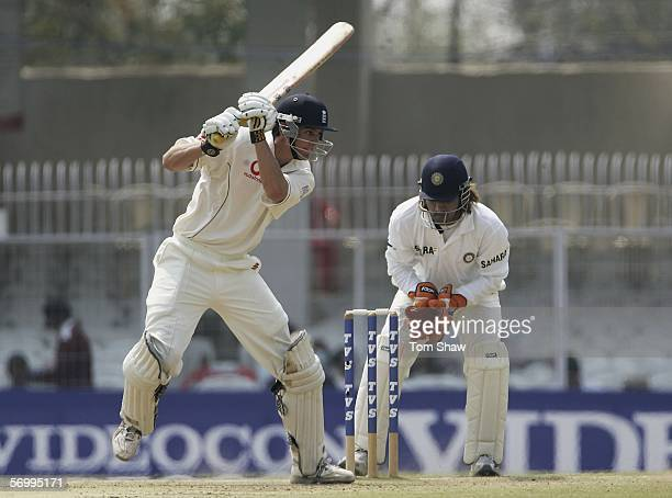 Alastair Cook of England hits out during day four of the First Test between India and England at the VCA Stadium on March 4, 2006 in Nagpur, India.