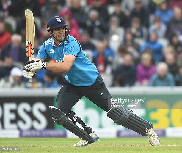 Alastair Cook of England hits out during the 3rd Royal London One-Day International match between England and Sri Lanka at Old Trafford on May 28,...