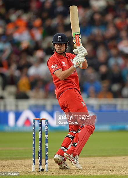 Alastair Cook of England hits out during the ICC Champions Trophy Final between England and India at Edgbaston on June 23, 2013 in Birmingham,...