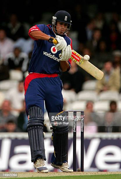 Alastair Cook of England hits out during the NatWest International Twenty20 match between England and West Indies at the Brit Oval on June 28, 2007...