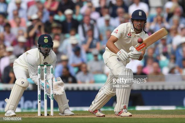 Alastair Cook of England hits out during the Specsavers 5th Test Day Four between England and India at The Kia Oval on September 10 2018 in London...