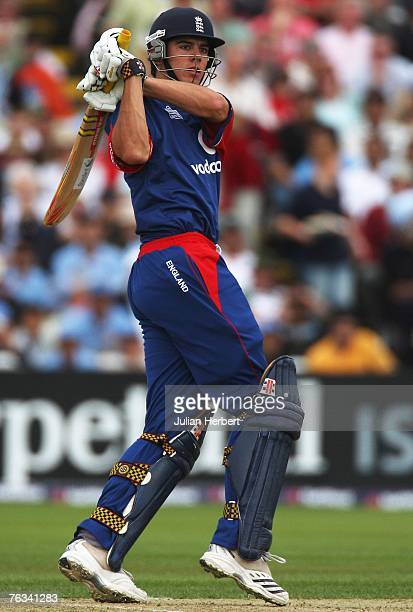 Alastair Cook of England hits out during the Third NatWest Series One Day International match between England and India at Edgbaston on August 27,...