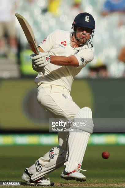 Alastair Cook of England hits the ball to bring up his century during day two of the Fourth Test Match in the 2017/18 Ashes series between Australia...