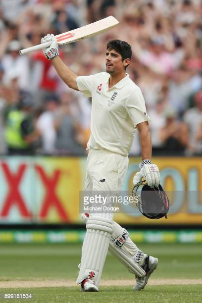 Alastair Cook of England hits the ball to bring up his double century during day three of the Fourth Test Match in the 2017/18 Ashes series between...