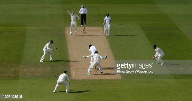 Alastair Cook of England is bowled by Nathan Lyon of Australia for 22 runs during the 5th Ashes Test match between England and Australia at The Oval...