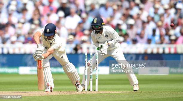 Alastair Cook of England is bowled by Ravichandran Ashwin of India during the Specsavers 1st Test between England and India at Edgbaston on August 1...