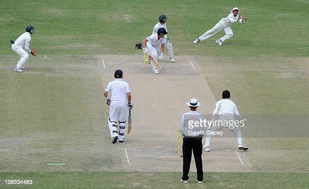 Alastair Cook of England is caught out by Younis Khan of Pakistan during the 3rd Test match between Pakistan and England at The Dubai International...