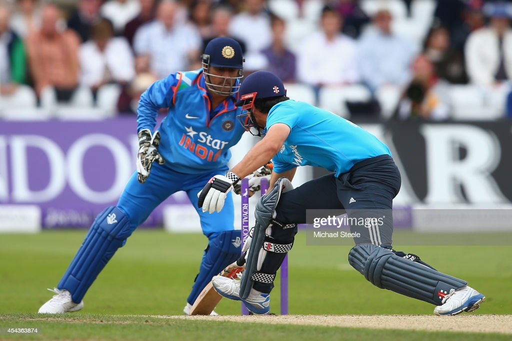 Alastair Cook of England is stumped by MS Dhoni of India off the bowling of Ambati Rayudu during the third Royal London One-Day Series match between England and India at Trent Bridge on August 30, 2014 in Nottingham, England.