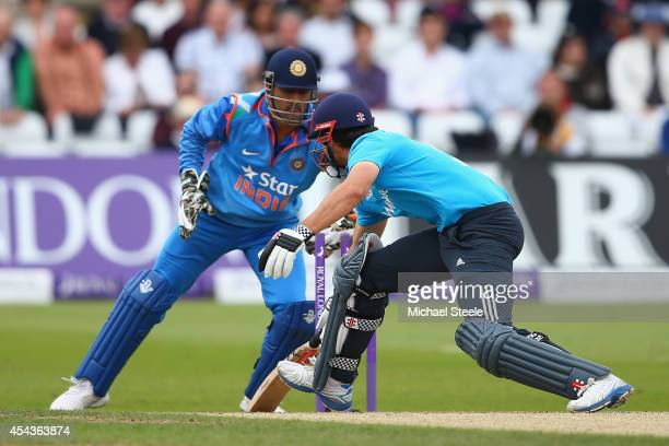 Alastair Cook of England is stumped by MS Dhoni of India off the bowling of Ambati Rayudu during the third Royal London OneDay Series match between...