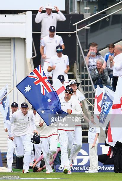 Alastair Cook of England leads his team onto the field during day one of the 3rd Investec Ashes Test match between England and Australia at Edgbaston...