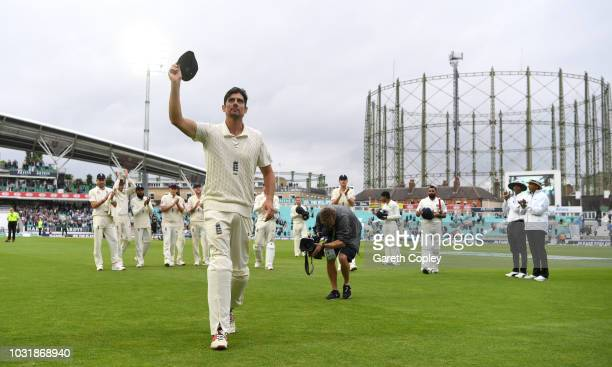 Alastair Cook of England leaves the field after the final time at the end of the Specsavers 5th Test match between England and India at The Kia Oval...