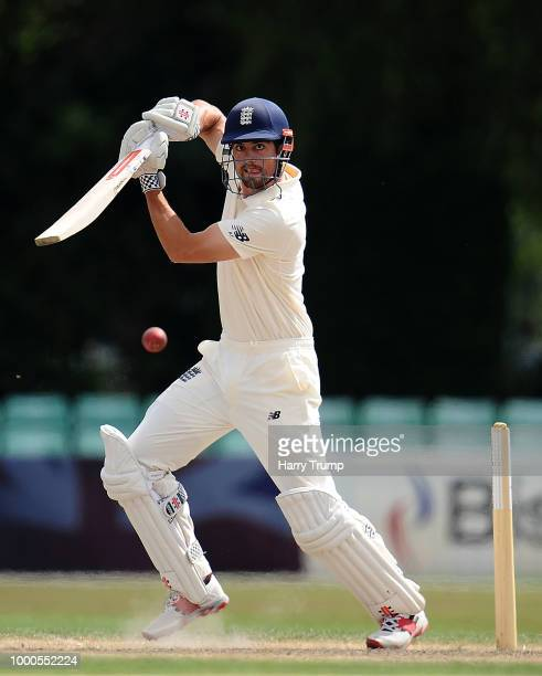 Alastair Cook of England Lions bats during Day Two of the Tour Match match between England Lions and India A at New Road on July 17 2018 in Worcester...
