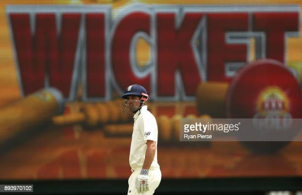 Alastair Cook of England looks dejected after being dismissed by Josh Hazlewood of Australia during day four of the Third Test match during the...