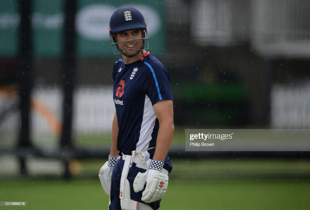 Alastair Cook of England looks on during a training session before the 2nd Specsavers Test Match between England and India at Lord's Cricket Ground on August 7, 2018 in London England.
