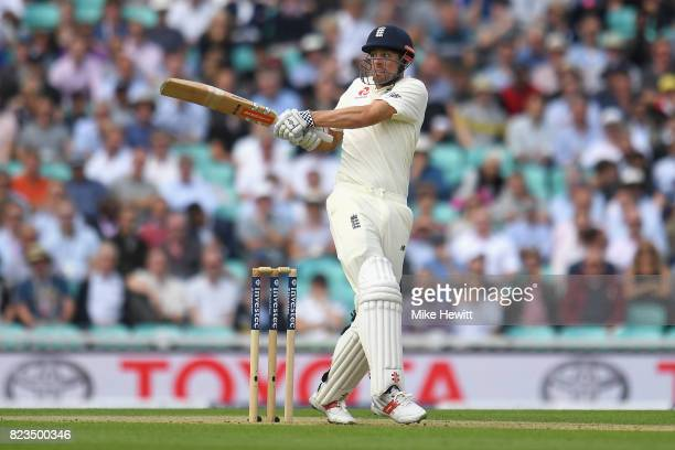 Alastair Cook of England plays a shot during Day One of the 3rd Investec Test match between England and South Africa at The Kia Oval on July 27, 2017...