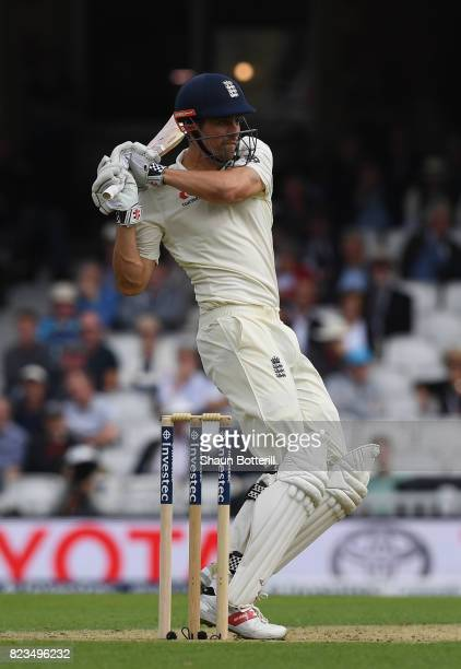 Alastair Cook of England plays a shot during the 3rd Investec Test match between England and South Africa at The Kia Oval on July 27 2017 in London...