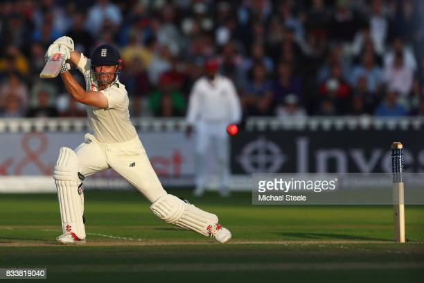 Alastair Cook of England plays to the offside during day one of the 1st Investec Test match between England and West Indies at Edgbaston on August 17...